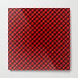 Diagonal Red and Black Buffalo Check Plaid Tartan Metal Print