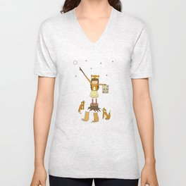 Little Fox Girl Unisex V-Neck