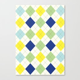 Argyle Plaid in Blue, Green and Yellow Canvas Print