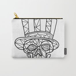 Skull Uncle Sam Black and White Mosaic Carry-All Pouch