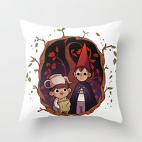 over the garden wall Throw Pillows featuring Over the garden wall by Collectif PinUp!