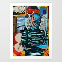 picasso Art Prints featuring Picasso by Nicolae Negura