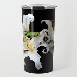 Elegant Casablanca White Oriental Lilies Travel Mug