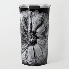 Backyard Flowers In Black And White 10 After The Storm Travel Mug