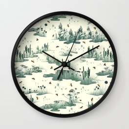 A Marsh Study - Firefly Seamless Pattern Wall Clock