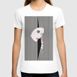 Peeking Woman (Black) T-shirt
