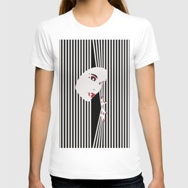 Peeking Woman (Black) T-shirt