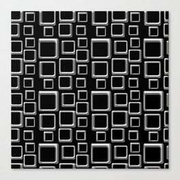 Silver Squares On Black Canvas Print