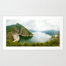 Vidraru Lake (Lacul Vidraru) and Dam in Carpathian Mountains, Fagaras ridge, Romania panorama. Art Print
