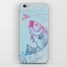 Bass jumping In Blue Circle3 iPhone & iPod Skin