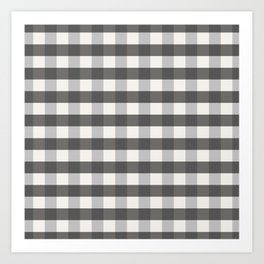 Grey and Pottery White Plaid Gingham Buffalo Check Farmhouse Country Canvas digital texture Art Print