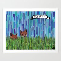 foxes say hello Art Print
