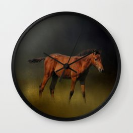 Copper Colt In The Moonlight Wall Clock