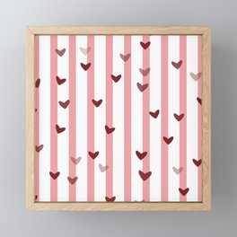 Love concept of hearts on striped background Framed Mini Art Print