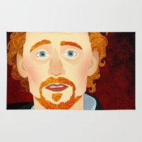tom hiddleston Area & Throw Rugs featuring Portrait: Tom Hiddleston by Delucienne Maekerr