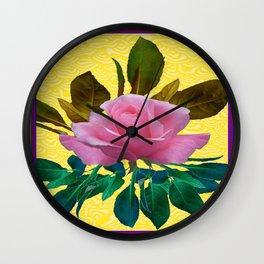 Pink  Garden Rose Leaves Morie Yellow Silk  Wall Clock