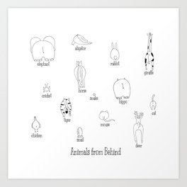 Animals from behind Art Print
