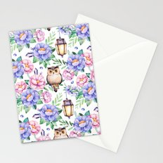 Wisdom Floral with Owl Pattern Stationery Cards
