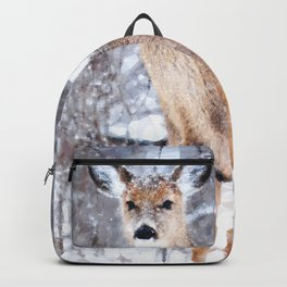 Deer In Snow Backpack