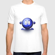 Emoticon Blue MEDIUM White Mens Fitted Tee