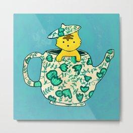 Dinnerware sets - Kitten in a teapot Metal Print