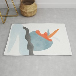 Cut out shapes in watercolor Rug