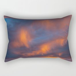 orange light on cirrus clouds and blue sky Rectangular Pillow
