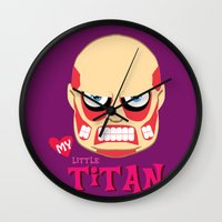 attack on titan Wall Clocks featuring My Little Titan by TheBeardedPen