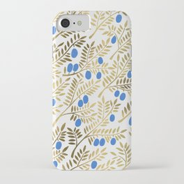 Olive Branches – Gold & Blue iPhone Case