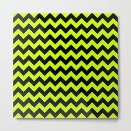 Jumbo Slime Green and Black Chevron Zig Zag Stripes Metal Print