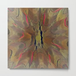 Pinkbrown(blue) Pattern 13 (Cracked Mandala) Metal Print