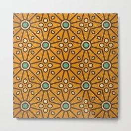 Kitschy Mid Century Pattern in Mustard and Aqua Palette Metal Print