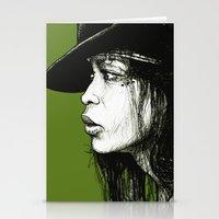 erykah badu Stationery Cards featuring Erykah Badu by ChrisGreavesArt