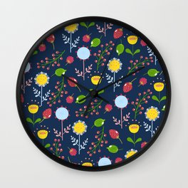 Floral pattern with bright colorful flowers, plants and berries. Wall Clock