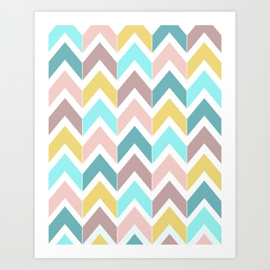 Pastel Chevron Art Print