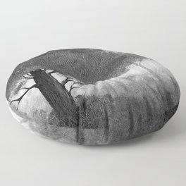 The Dark Forest (B&W) Floor Pillow