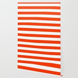 Coquelicot - solid color - white stripes pattern Wallpaper