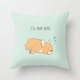 I'll nap here pug Throw Pillow