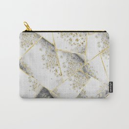 White Agate Gold Geometric Glam #1 #geo #gem #decor #art #society6 Carry-All Pouch
