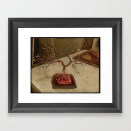 Copper Wire Tree Sculpture Framed Art Print