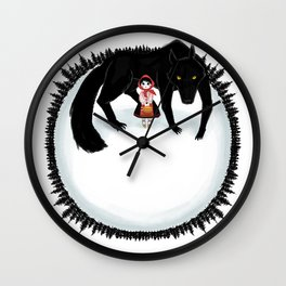 Little Red Riding Hood and the Big Bad Wolf Wall Clock