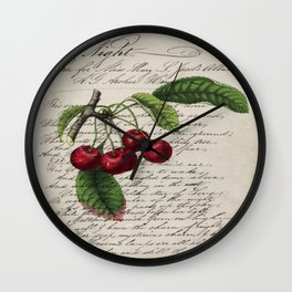 shabby elegance french country botanical illustration vintage red cherry Wall Clock