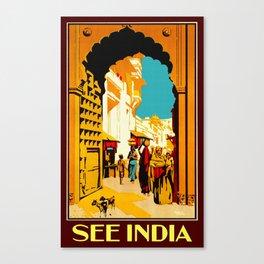 See India - Vintage Travel Canvas Print