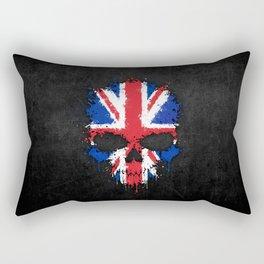 Union Jack Flag on a Chaotic Splatter Skull Rectangular Pillow