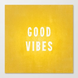Sunny Yellow and White Distressed Effect Good Vibes Canvas Print