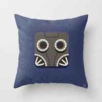 steam punk Throw Pillows featuring Steam Punk Mask by Nick Kumbari