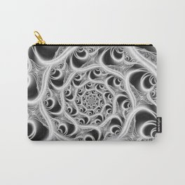 Fractal Web White on Black Carry-All Pouch