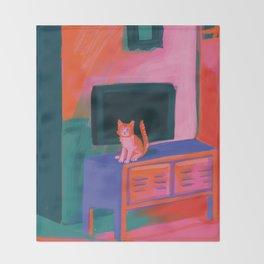 Cat in front of TV Throw Blanket