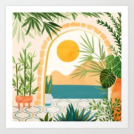 Villa View / Tropical Landscape Art Print