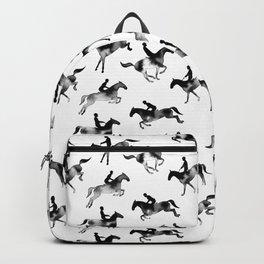 Watercolor Showjumping Horses (Black) Backpack